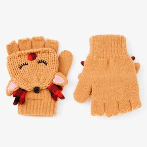 Reindeer Fingerless Gloves With Mitten Flap,