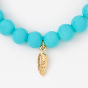 Gold Feather Beaded Stretch Bracelet - Turquoise,