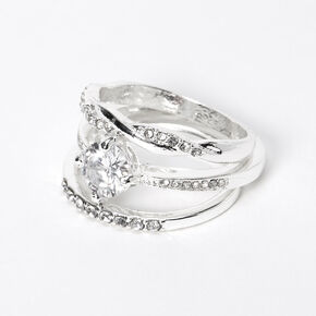Silver Cubic Zirconia Stone Twisted Rings - 3 Pack,