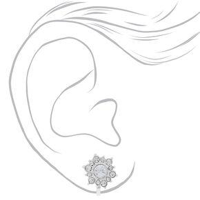 Silver Crystal Pearl Clip On Stud Earrings - 3 Pack,
