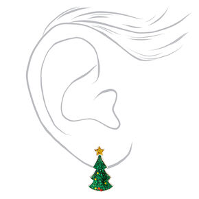 Silver Glitter Christmas Tree Stud Earrings - Green,
