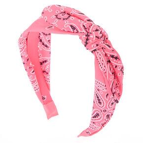 Paisley Bandana Headband - Neon Pink 326ef5be4714