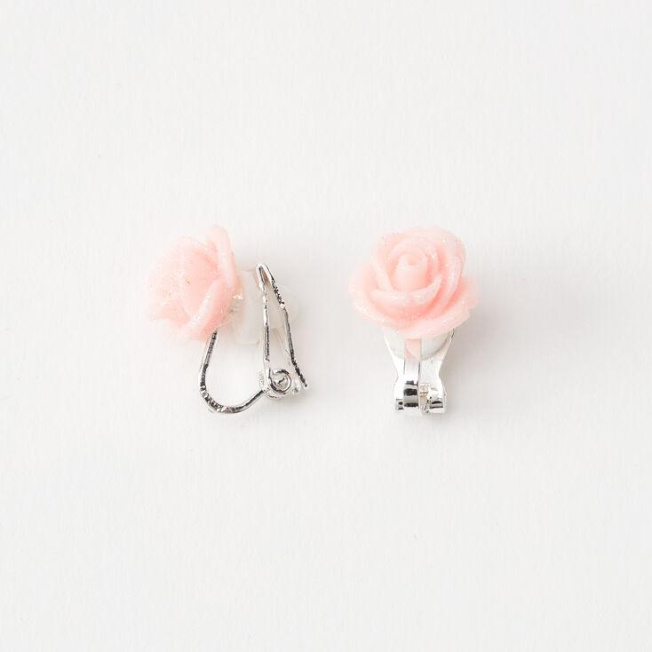 Silver Glitter Rose Clip On Stud Earrings - Pink,