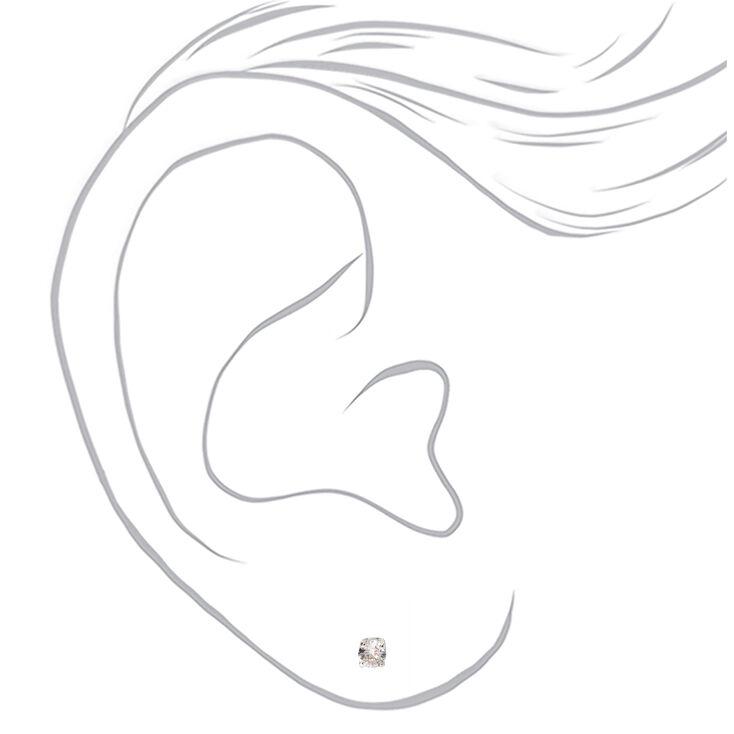 Clous d'oreilles ronds aimantés avec strass en zircon cubique d'imitation couleur argentée - 3mm,