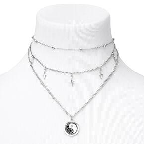Silver Lightning Bolt Yin Yang Multi Strand Choker Necklace,