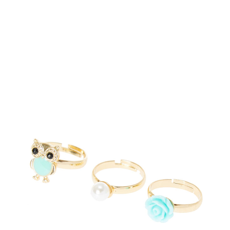 Gold Owl, Pearl, & Rose Rings - Mint, 3 Pack,
