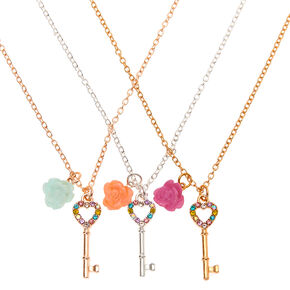 Best Friends Key Pendant Necklaces - 3 Pack,