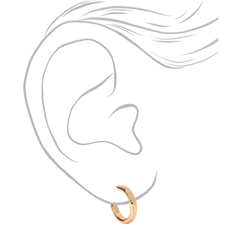 Mixed Metal Crystal Textured Hoop & Stud Earrings - 6 Pack,