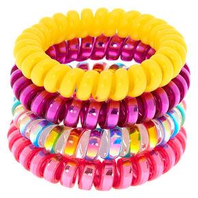 Rainbow Shine Spiral Hair Ties - 4 Pack,