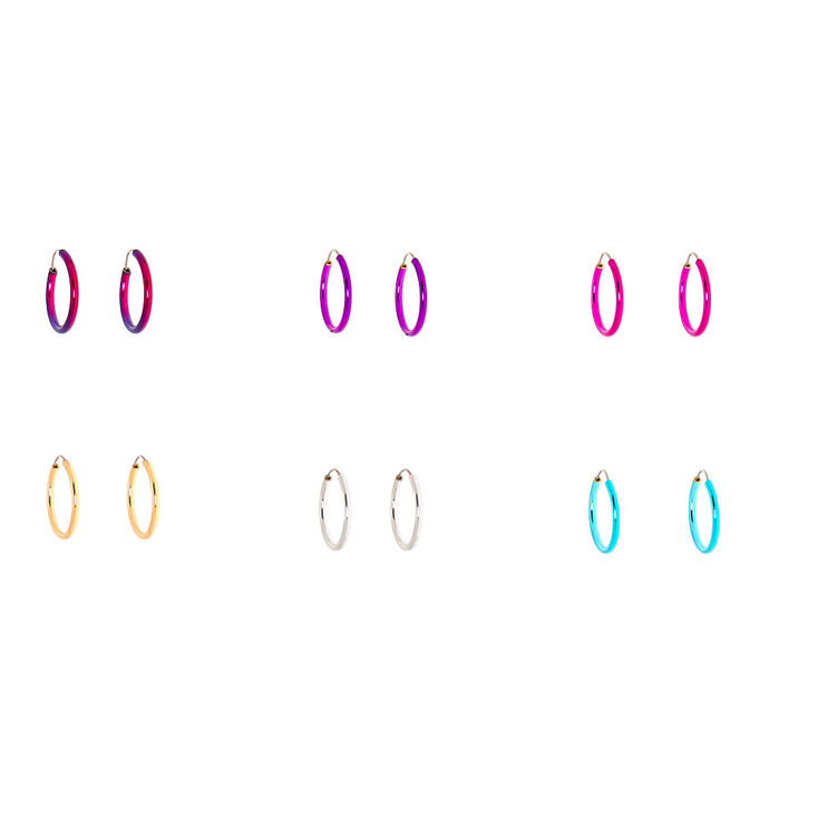 Silver 10MM Anodized Rainbow Hoop Earrings - 6 Pack,