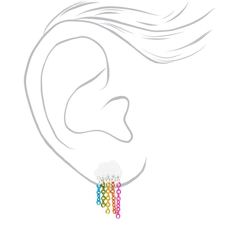 Silver Rainbow Chain Cloud Stud Earrings,