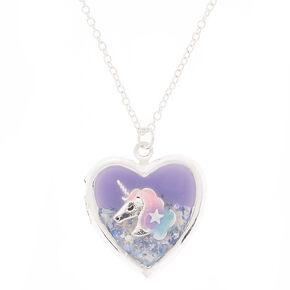 Unicorn Locket Pendant Necklace - Purple,
