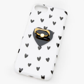 Black & White Hearts Ring Stand Phone Case - Fits iPhone 6/7/8/SE,