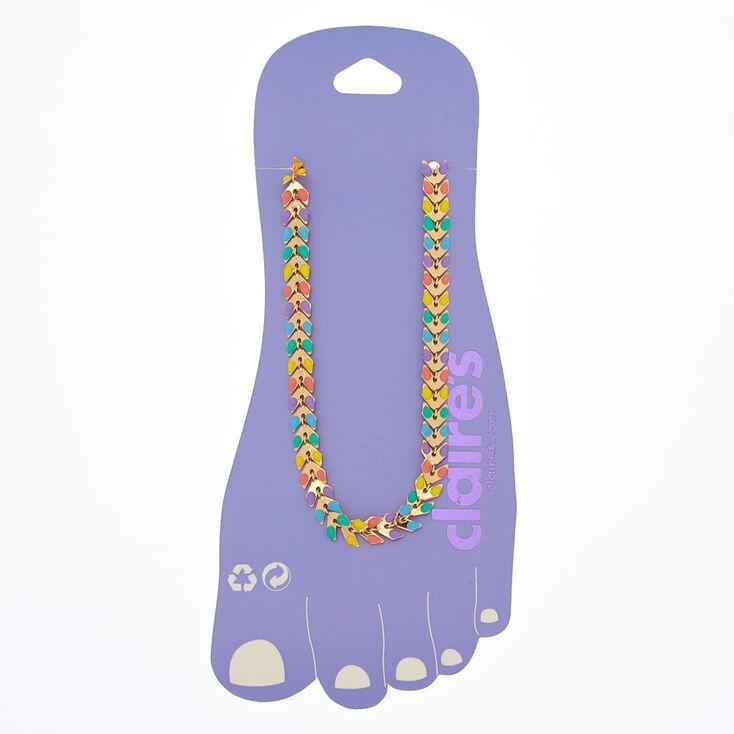 Bracelet de cheville avec motif à chevrons arc-en-ciel,