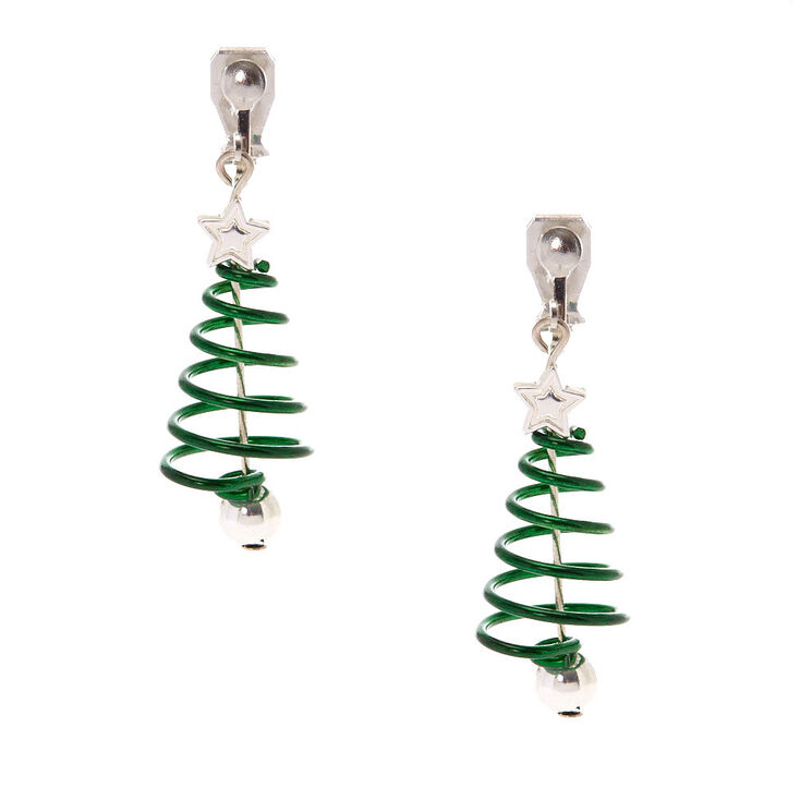 spiral christmas tree clip on drop earrings