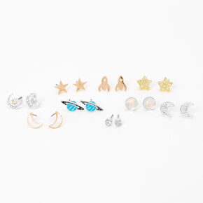 Mixed Metal Outer Space Stud Earrings - 9 Pack,