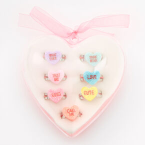 Conversations Hearts Boxed Ring Set - 7 Pack,