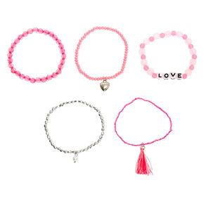 Love Beaded Stretch Bracelets - Pink, 5 Pack,