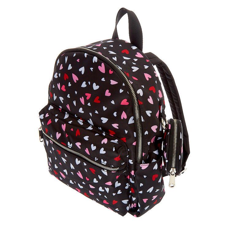 Nylon Hearts Medium Backpack - Black,