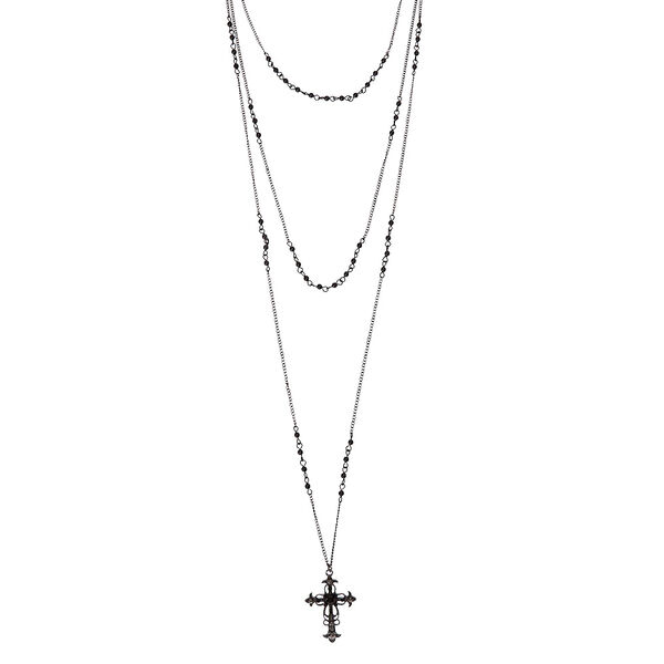Claire's - triple layer cross necklace - 1