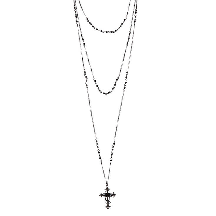 d64c3f2251e7 Black Triple Layer Cross Necklace