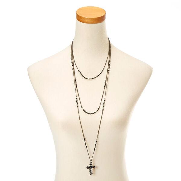 Claire's - triple layer cross necklace - 2