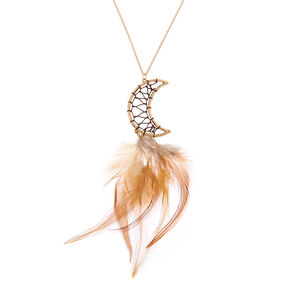 Gold Crescent Moon Feather Long Pendant Necklace,