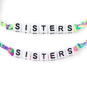 Neon Rainbow Sister Adjustable Braided Bracelets - 2 Pack,