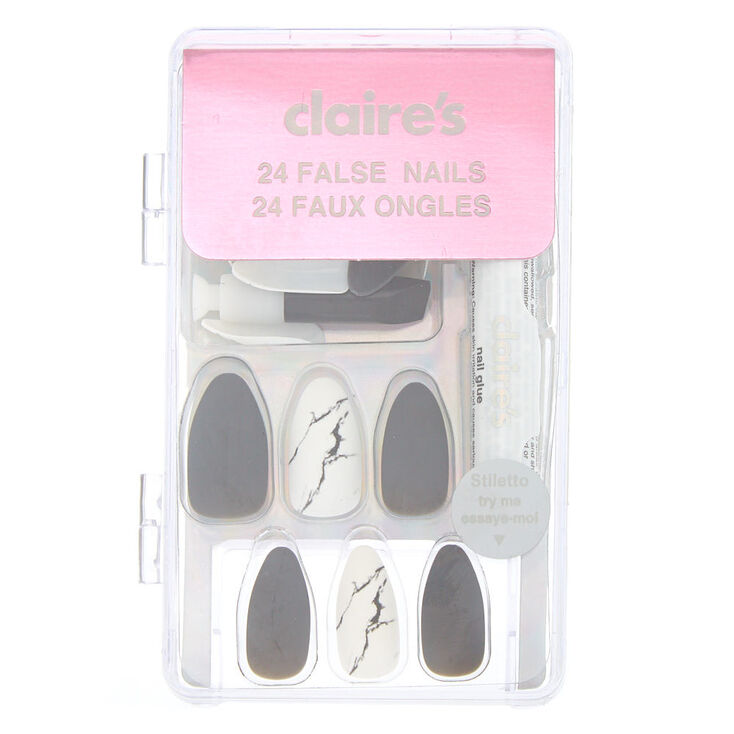 Matte Marble Stiletto Faux Nail Set - Grey, 24 Pack,
