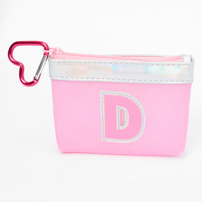 Pink Initial Coin Purse - D,
