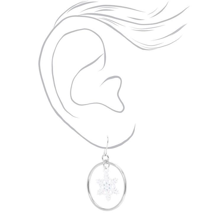 """Silver 1"""" Snowflake Hoop Drop Earrings,"""