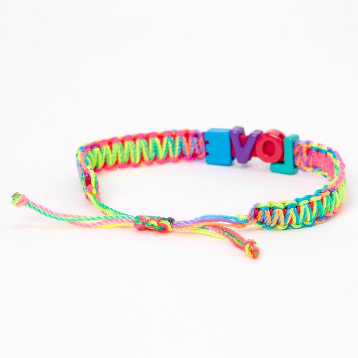 Bracelet tressé réglable à glissière «Love» arc-en-ciel,