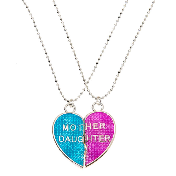 Mother Daughter Heart Pendant Necklaces - 2 Pack,