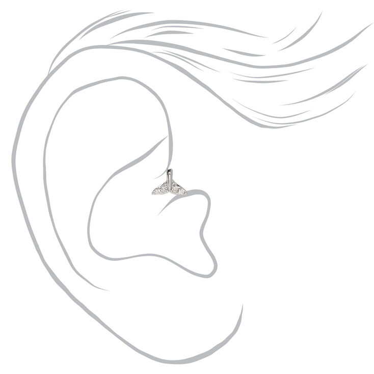 Silver 16G Whale Tail Tragus Stud Earring,