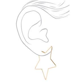 Gold 60MM Star Hoop Earrings,