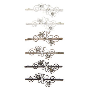 Flower Swirl Hair Pins - Silver,