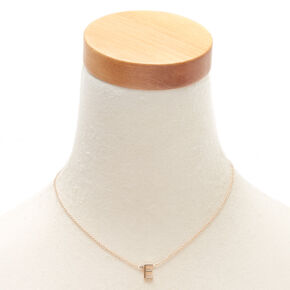 Gold Stone Initial Pendant Necklace - E,