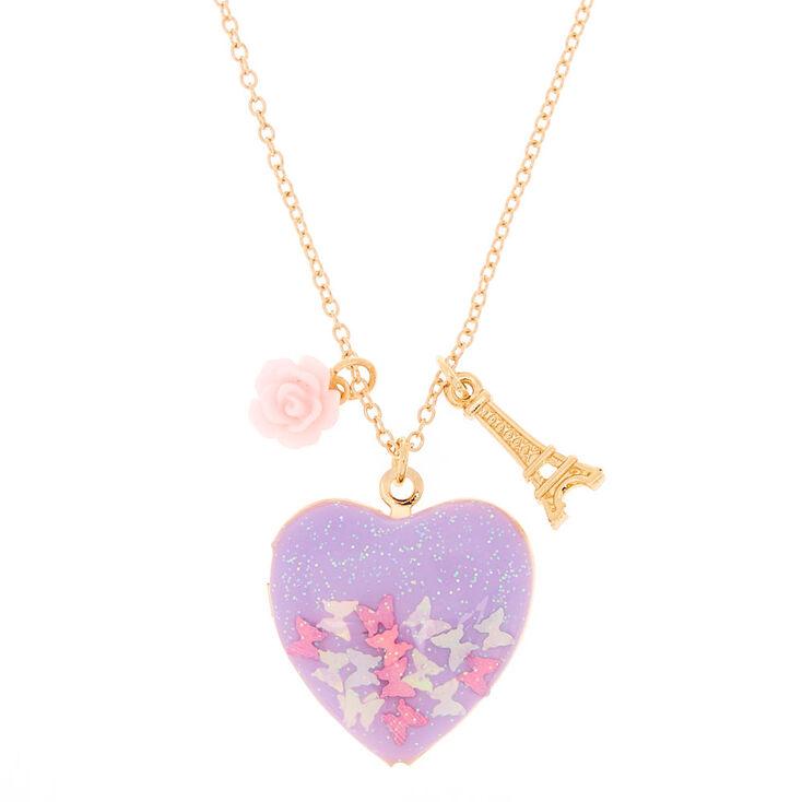 Gold Butterfly Paris Locket Pendant Necklace,