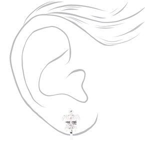 Silver Cubic Zirconia Turtle Clip On Stud Earrings,