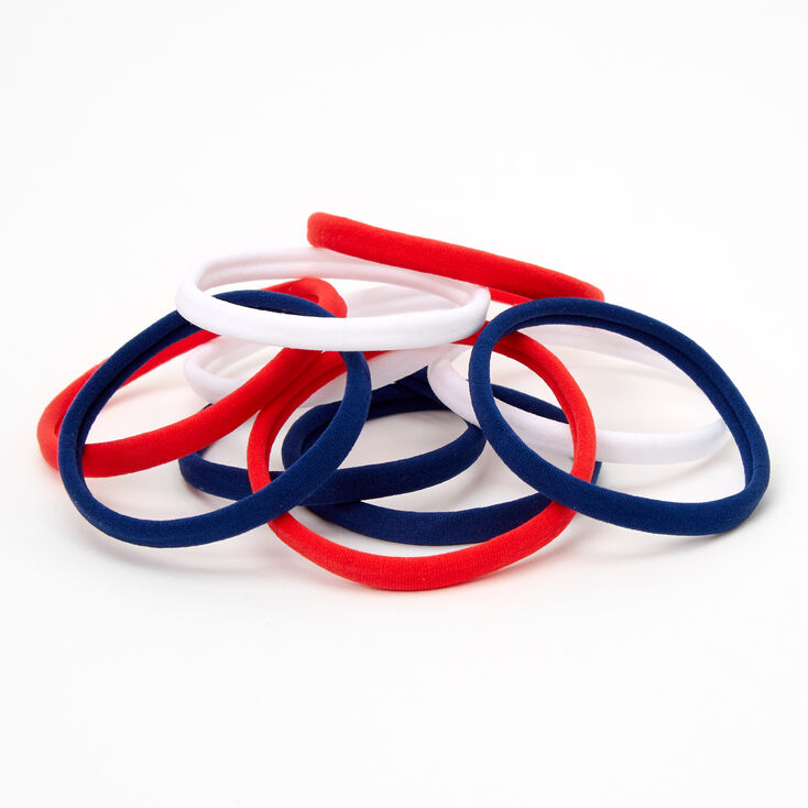 Red, White, & Blue Rolled Hair Ties - 10 Pack,