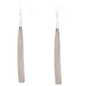 Silver Pearl Tassel Drop Earrings,