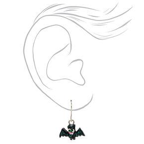 """Silver  1"""" Glow In The Dark Glitter Hallowen Mix Drop Earrings,"""