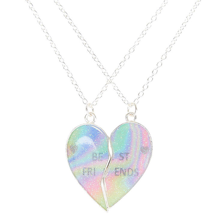 Best Friends Cosmic Rainbow Heart Split Pendant Necklaces Claire S