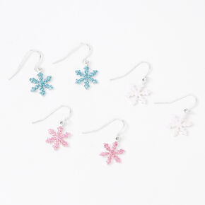"Silver 0.5"" Glitter Snowflake Drop Earrings - 3 Pack,"