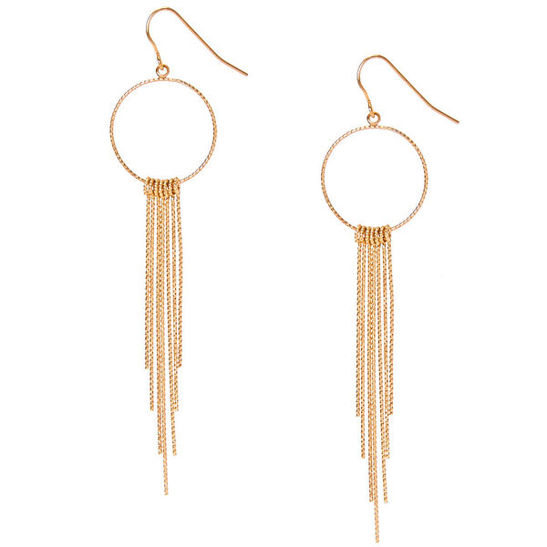 Claire's - tone silver open circle with bar fringe drop earrings - 1
