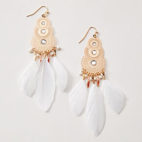"Gold 4"" Fancy Filigree Feather Drop Earrings - White,"