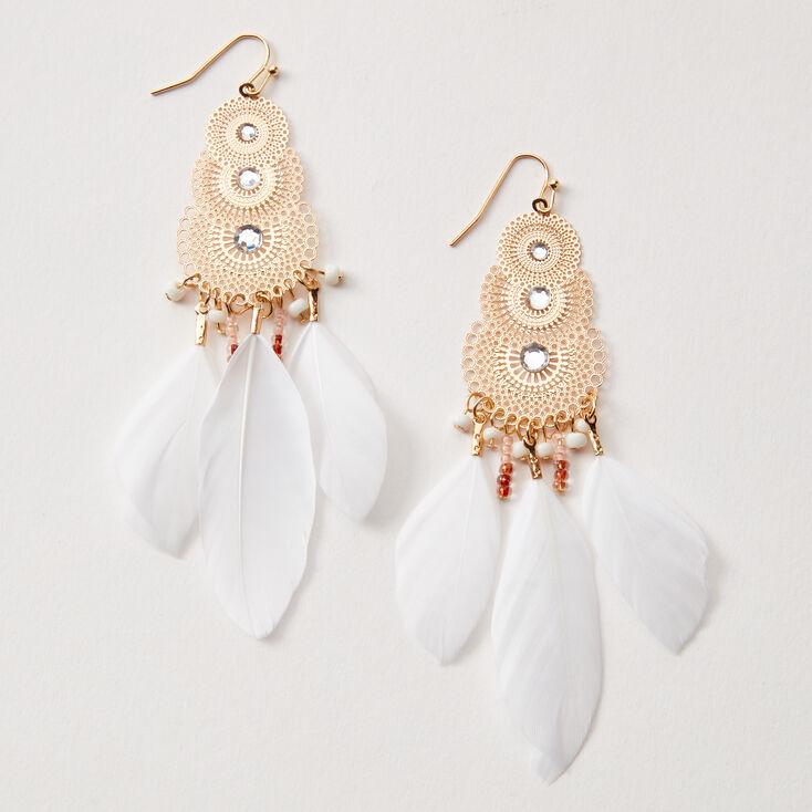 Pendantes à plumes en filigrane sophistiquées 10cm couleur dorée - Blanc,
