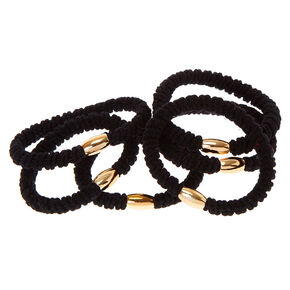 Ribbed Hair Bobbles - Black, 6 Pack,
