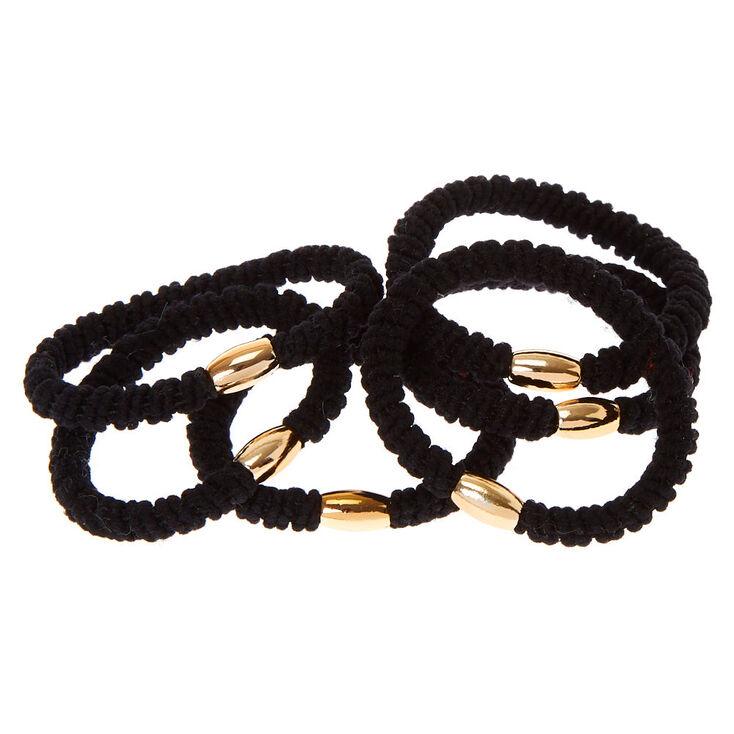 Élastiques à cheveux côtelés - Noir, lot de 6,