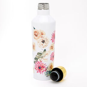 Floral Succulent Waterbottle - White,